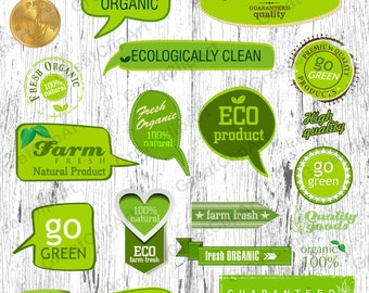 37 Eco product clipart, organic labels, eco friendly, fresh organic clip, farm fresh labels, 100% natural, go green labels, reduce recycle