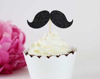 Glittery Mustache Cupcake Toppers (Set of 12) - Boy Birthday Party, Birthday Parties, Little Man Birthday, Mustache Theme Party Decor
