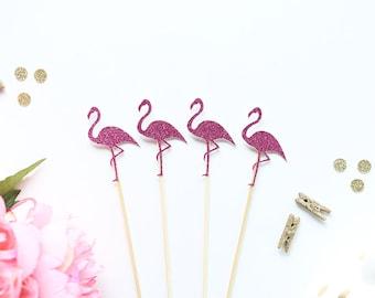 Flamingo Drink Stir Sticks | Glittery Pink Flamingo Swizzle Sticks | Summer Party Decor | Flamingle | Wedding | Flamingo Party | Stir Sticks