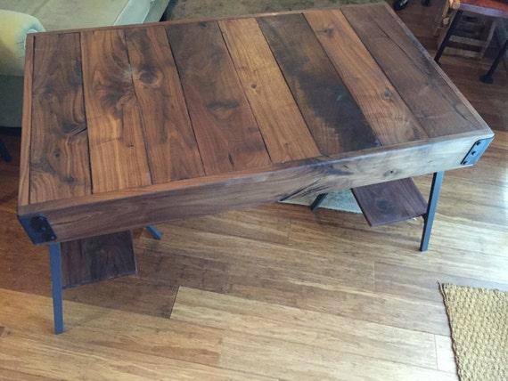 Rustic / Industrial Walnut Wood Desk - Cart Style Top with Trestle Legs