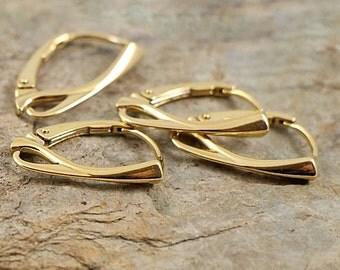 Quality VERMEIL Ear Hooks Lever-backs 24 k gold plated Sterling Silver 925 eu made CHOOSE QUANTITY ( art.278V)