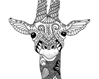 Mandala Giraffe Vertical Card