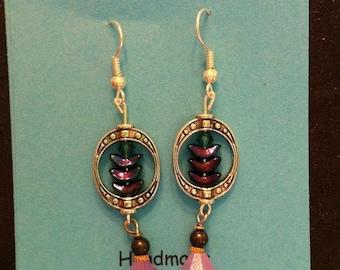 Glass Bead Earrings (Magenta)