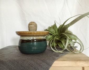 Hand-made ceramic container