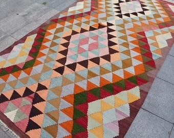 Vintage turkish kilim rug - 9 x 5 ft