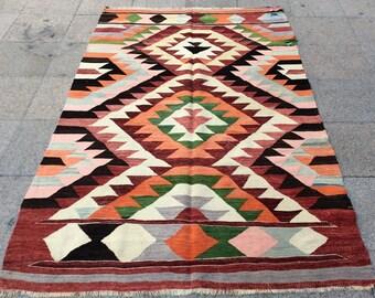Bright kilim rug vintage kilim rug 7x4 ft