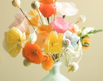 Paper poppies, Paper flower arrangement, Wedding bouquet, Wedding decor, Flower centerpiece, Paper anniversary, Paper sculpture
