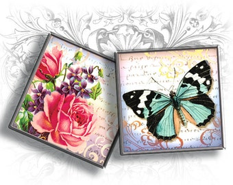 Butterfly's Danse 1 Inch Square Images Digital Collage Sheet Ready to Print