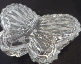 Butterfly Crystal Container  / Trinket Box or Heart Crystal Candle Holder / Trinket Container