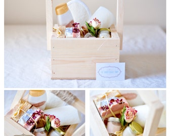"""The """"Nature's Best"""" gift basket hamper spa gift set of natural skin care - handmade soap and scented candle for her"""