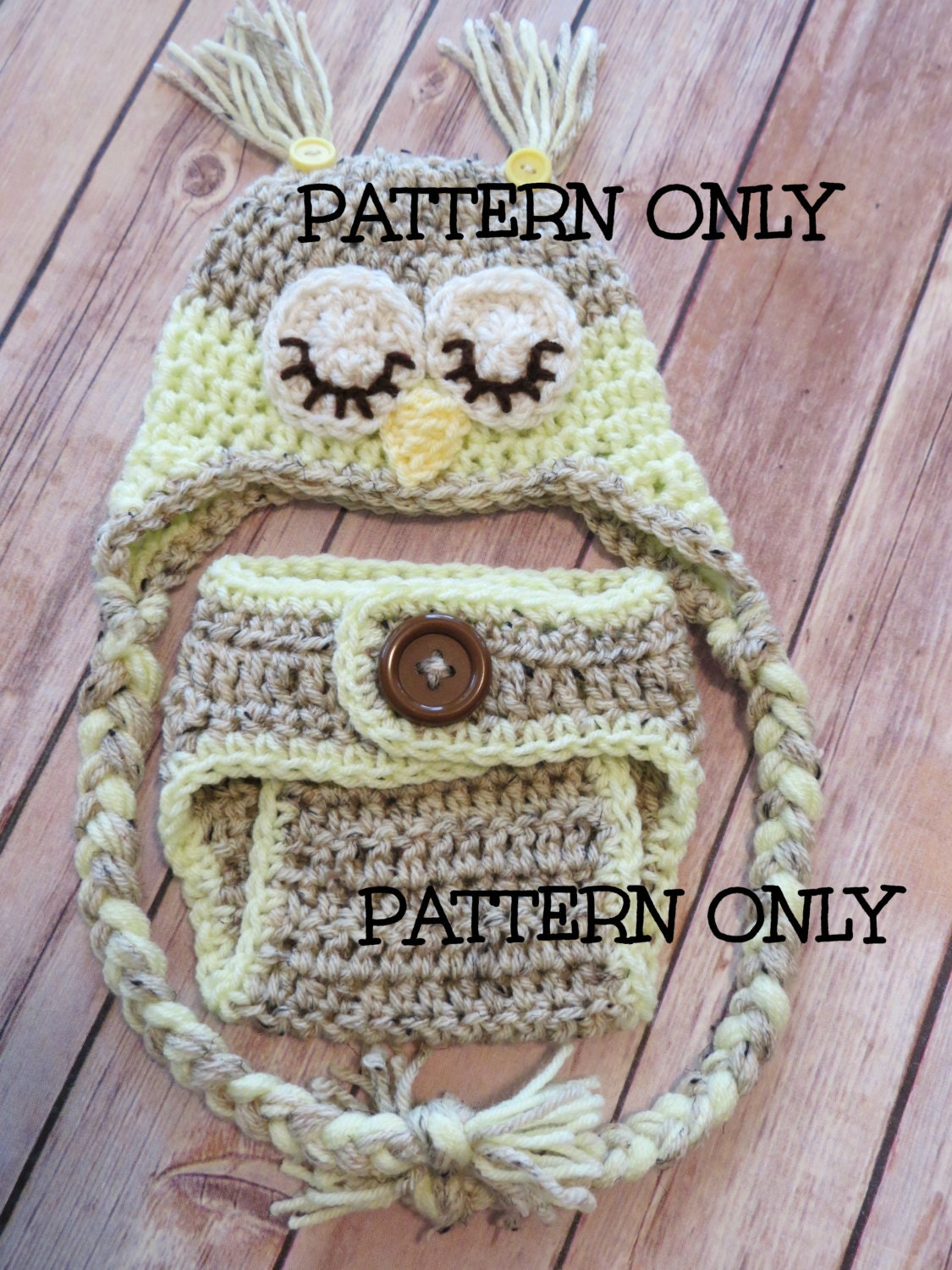 Free Crochet Owl Hat And Diaper Cover Pattern : PATTERN Crochet Owl Pattern Instructions Digital File