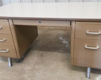 "Vintage Industrial ""All Steel"" Tanker Desk, All metal desk, Vintage office, Vintage steel tanker desk, Brushed S/S legs, (3) *Local P/U only"