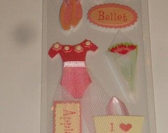 NEW ~ Dimensional Scrapbook Stickers Ballet Dance Kids Party Favor Embellishments