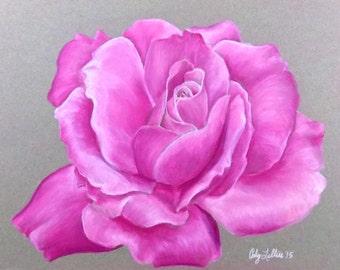 """Pink Rose Pastel Giclee Print 9""""x12"""""""