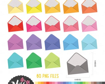 30 Colors Envelopes Clipart - Instant Download