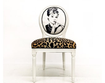 Audrey French Louis XVI Accent Side Chair upholstered in black & white and cheetah animal print eclectic dining chair chairs painted white