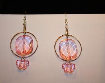 Valentines Pink Butterfly Earrings Handmade Butterfly Dangle Earrings Hoop Earrings Artisan Folk
