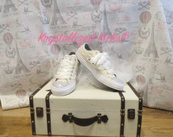 SALE!!!Swarovski Crystal and Pearl Wedding Converse Women's Size 8 (This pair only, sale not on custom orders)