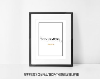 """18x24"""" EDGAR Allen POE NEVERMORE Quoth the Raven 1007 Wall Art Instant Download Print at Home Decor Home Styling"""