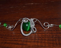 Handmade Healing Gemstone Green Opal Cat Eye Silver Plated Wire Wrapped Necklace