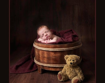 rustic style wooden tub bucket  barrel photo prop