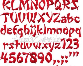 Wonton or Fortune Cookie  Machine Embroidery Font in 4 sizes