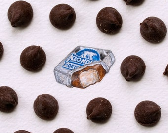 Original miniature watercolor painting of a Klondike Bar.