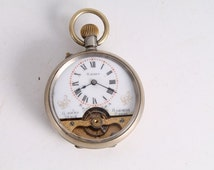 Antique Vintage Hebdomas 8 Days Swiss Made Pocket Watch with Porcelain Dial.