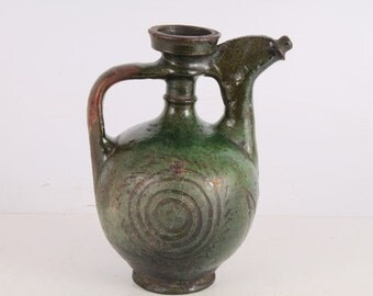 Antique Old Hand-Carved and Painted Glazed Pottery Pitcher Jug.