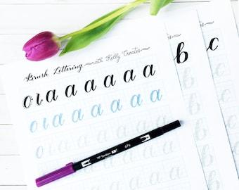 a - z Brush Lettering Worksheets: Lowercase Alphabet for Large Brush Pens