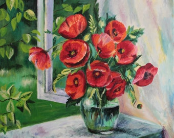 Hand painted Original Poppies on Window Oil Painting on Canvas Impressionism