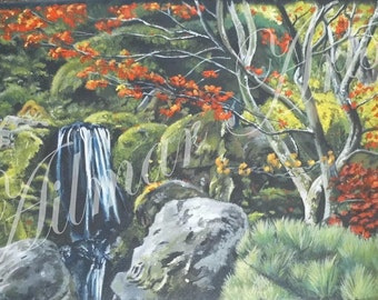 Acrylic Painting,Waterfall From A Black Background, Intricate and Detailed
