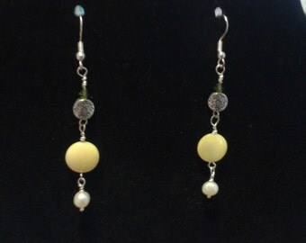 Yellow & Silver Toned Earrings