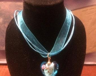 Pretty Blue Heart Necklace