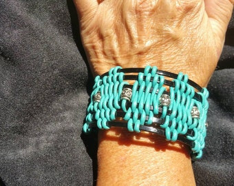 Turquoise, Silver, and Black Bangle Bracelet.
