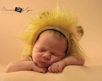 Newborn Knit Lion Hat Baby Lion Hat with Ears Knitted Baby Clothes Photo Booth Props Costume 'Lambert'