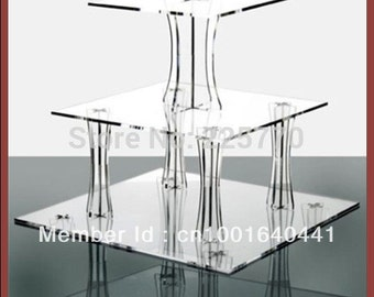 Acrylic Square 3 tiers Assembled Cupcake Stand Square Cake Stand