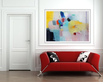 Large Abstract Painting Modern Art Big Wall Art Yellow Pink Peach Blue Original Giclee Colorful Contemporary Horizontal Size Free Shipping