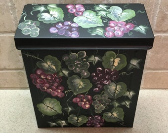 Painted Grapes Mailboxes, Decorative Mailboxes, Custom Mailboxes, Residential Mailboxes, Hand Painted Mailbox, Black Wall Mount Mailbox