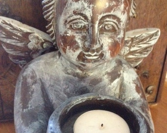Vintage Wood Carved Sitting Cherub Angel holding bowl for Candle