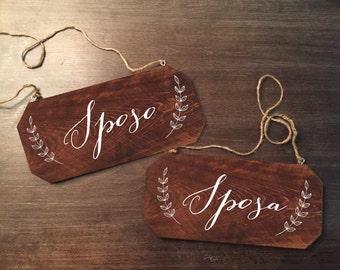 Wedding Chair Signs - Sposo Sposa Rustic Chair Signs