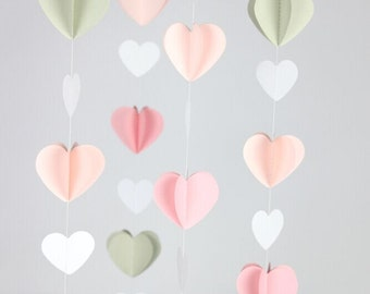 Pink Gray Curtain for Weddings and Events 3d Heart Garland Wedding Backdrop Photo Prop