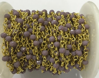 1Meter Wholesale 3*4mm Crystal Beads Chain,Gold Plated Wire Wrapped Chain, Rosary Chain