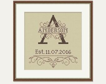 Monogram Cross Stitch - Wedding Cross Stitch Pattern - Birthday Cross Stitch - Wedding Gift - House Warming Embroidery -PDF-INSTANT DOWNLOAD
