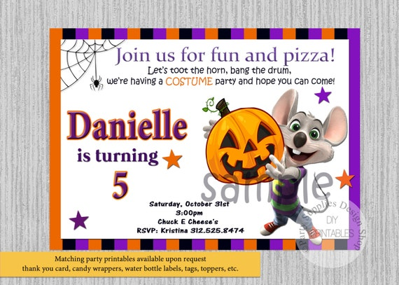 halloween chuck e cheese birthday invitations any age chuck, Birthday invitations