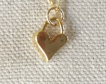 Gold Vermeil Padlock Heart on a Gold Filled Chain