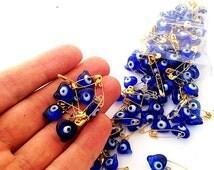 Unique wedding favor - 25 pcs - glass evil eye beads - tiny evil eye safety pins - nazar boncuk - baby shower favor - turkish evil eye