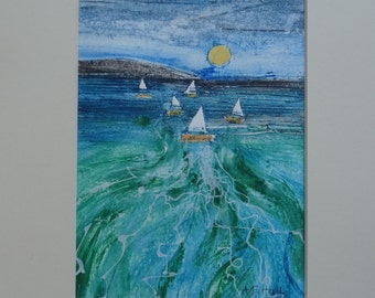 Seascape and Yachts  - Original Collagraph Print
