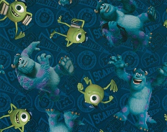 "Disney Fabric - Monsters Inc Fabric - Mike and Sully Toss 100% cotton fabric 43"" wide, E144"