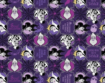 "Disney Fabric - Disney Villains Fabric - Disney Villains Evil Is The New Black 100% cotton 43"" fabric by yard,g162"